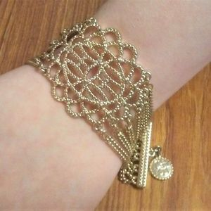 Jewelry - Gorgeous Latticework and Chain Gold Tone Bracelet